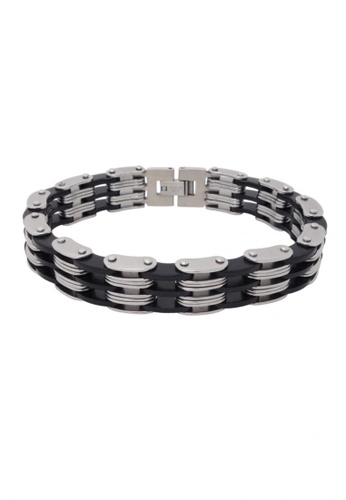 Jaysa Collection silver Stainless Steel Silicon Links Bracelet JA875AC01KCKSG_1