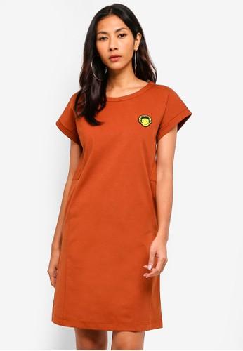 Hopeshow brown Short Sleeve T-Shirt Dress 14689AAB34AF4EGS_1