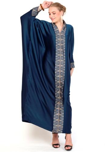Kanzi by liza yahya blue Kanzi Exclusive Long Sleeve Songket Kaftan CC61BAA86BAC9FGS_1