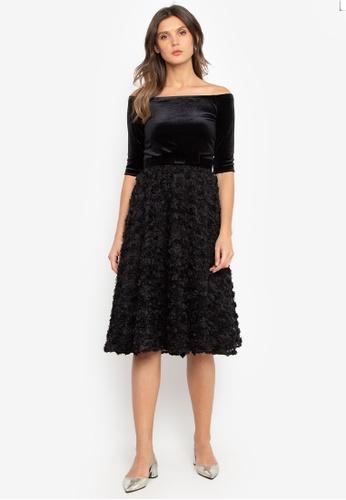 BARBA black Off Shoulder Dress with Rosette Skirt 8C0D5AA9E368B3GS_1