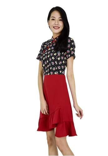 MOONRIVER Annie Oriental Collar Fit And Flare Dress - CNY Collection 3B09CAAD3C401CGS_1