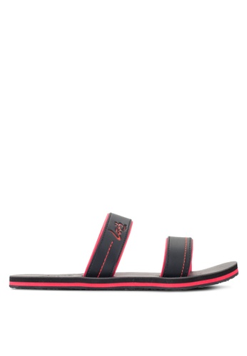 Louis Cuppers black Double Strap Sandals LO977SH26RDHMY_1