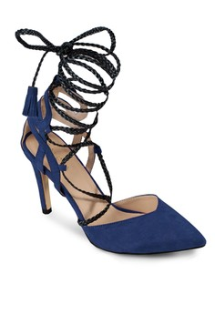 【ZALORA】 尖頭繫帶羅馬高跟鞋