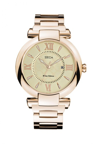 ZECA white and gold Zeca Watches Ladies Fashion Stainless Steel Analog - 100L Gold ZE260AC71SHOSG_1