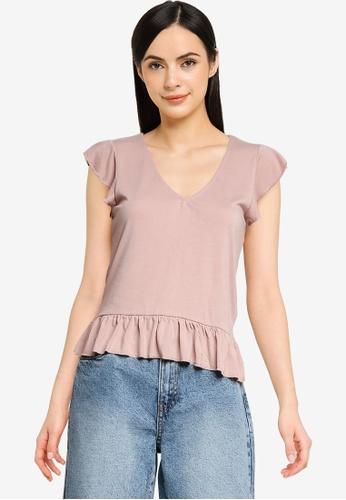 JACQUELINE DE YONG pink Ditte Short Sleeve V-Neck Top 9E583AA622547FGS_1