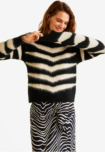 Mango black Zebra Textured Sweater 50819AAB87A101GS_1
