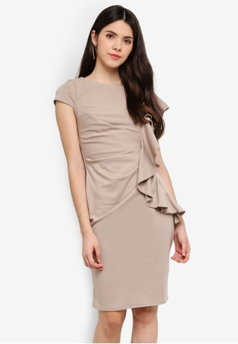Goddiva beige One Side Frill Midi Dress 8E7F1AA4E9780AGS_1