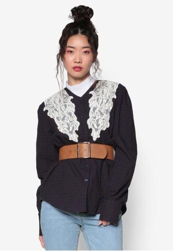 韓式時尚蕾絲飾格esprit outlet 台灣子長袖襯衫, 服飾, 上衣