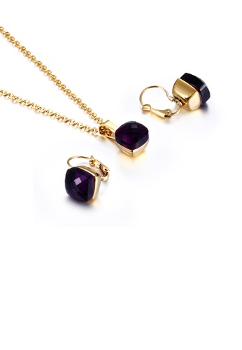 Glamorousky purple Fashion and Simple Plated Gold Geometric Square 316L Stainless Steel Necklace and Earrings Set with Deep Purple Cubic Zirconia 443E7AC463DF62GS_1
