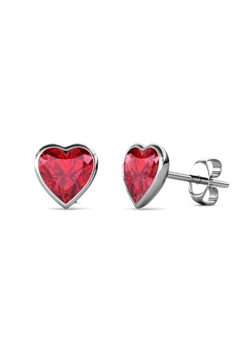 Her Jewellery silver Sweet Stone Earrings (Light Siam) -  Made with premium grade crystals from Austria DCB04AC878E09FGS_1