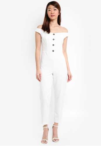 ad3bb59e62e3 Miss Selfridge beige Petite Ivory Button Front Bardot Jumpsuit  4F944AACE50868GS 1
