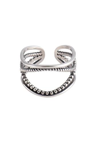 OrBeing 白色 Premium S925 Sliver Geometric Ring 399C2AC629B6D1GS_1