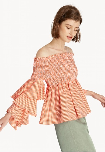 7aee02a5caa97 Buy Pomelo Layered Ruffle Off Shoulder Top - Orange