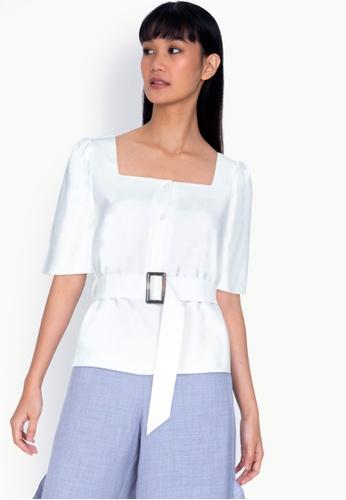 ZALORA BASICS 白色 方領上衣 with 腰帶 B3237AA4953325GS_1