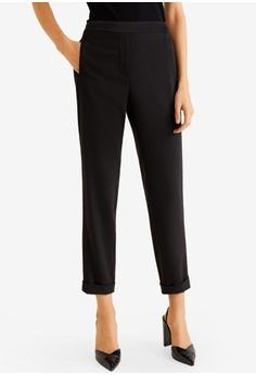185371cc26aa Mango black Elastic Waist Trousers 62AF1AA71740E5GS_1