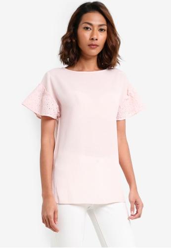 Dorothy Perkins pink Blush Crochet Sleeve Tee A4FEDAA2EF28CDGS_1