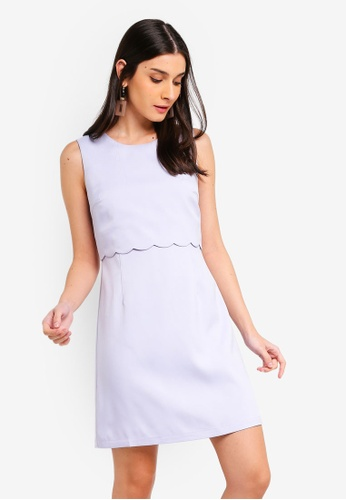 ZALORA 藍色 Shift Dress With Scallop Details 5F600AA6A44EE9GS_1