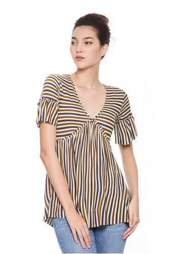 Sisley multi Striped T-shirt 75F64AA6FF8ADFGS_1