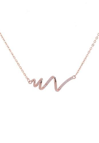 Twenty Eight Shoes gold VANSA Simple wavy diamond Pendant Necklace VAW-N246 FEB66AC06EDF39GS_1