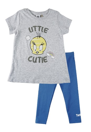 KIDS ICON blue and grey KIDS ICON - Setelan Bayi Perempuan Looney 3-36 Bulan Set T-Shirt with Legging - LG7K0400200 23489KA40415B1GS_1