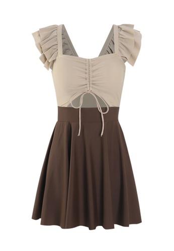 ZITIQUE brown Women's Stylish Ruffled Sleeve One-piece Swimsuit (2-piece Set) - Brown 171CEUS3328268GS_1