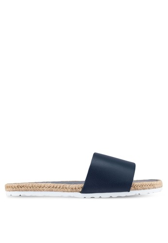 ZALORA navy Faux Leather Pool Sliders 207CFSHADE74DBGS_1
