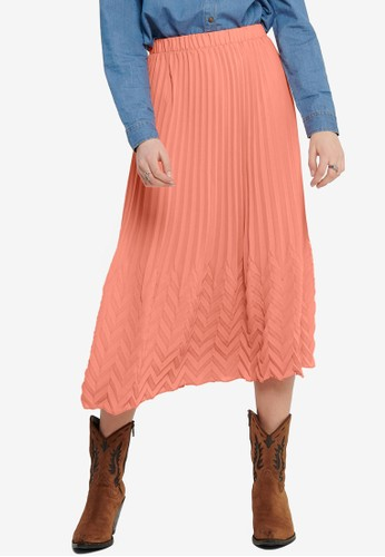ONLY red and orange Kelina Textured Midi Skirt 87251AA3217A3FGS_1