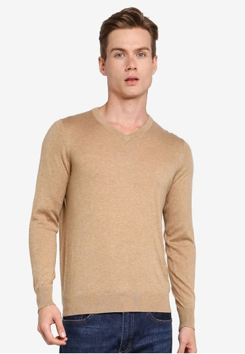 Gay Giano beige Extra Fine V Neck Knit Sweater 31B9DAADFFE510GS_1