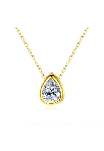 SUNRAIS gold Premium Silver S925 Gold Drop Shaped Necklace 7D717AC8C31582GS_1