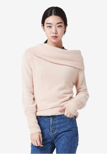 NAIN pink Off Shoulder Knit Top 9D12AAAEBA367BGS_1