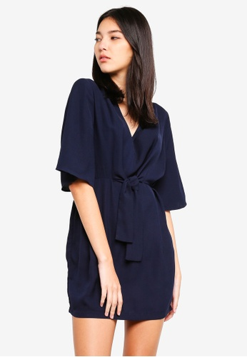 ZALORA navy Self Tie Kimono Dress B9DCAAA72A1220GS_1
