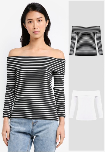 02b8625738613b ZALORA BASICS black and white 2 Pack Essential Long Sleeve Off Shoulder Top  ZA424AA0NP0KPH 1