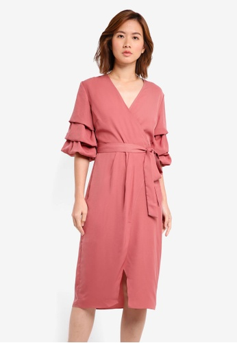 ZALORA pink Pull Sleeve Dress 44B84AA8FB2131GS_1