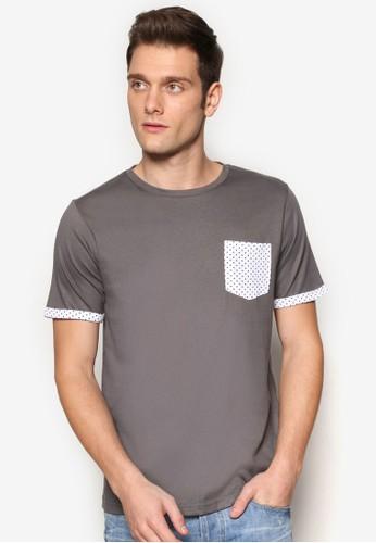 印花口袋短esprit au袖TEE, 服飾, 素色T恤