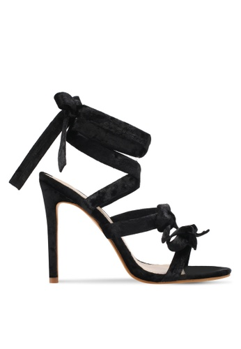 Public Desire black Bedlam Bow Detail Wrap Around Heels PU378SH0SIPAMY_1