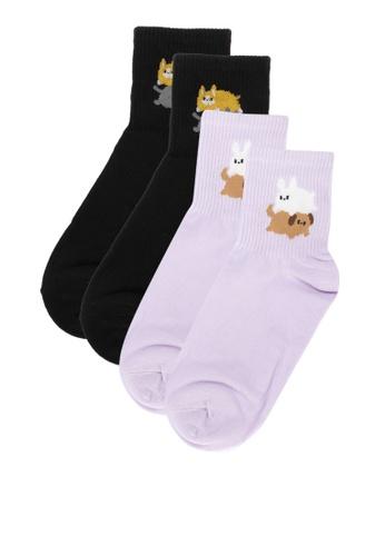 Kiss Socks multi 2-in-1 Mochi Stacked Animals Women's Crew Socks 847B5AA0221329GS_1