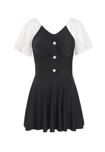 ZITIQUE black Women's Vintage Style Elegant Non-wired One-piece Swimsuit - Black 1DA73USDDD8AD2GS_1