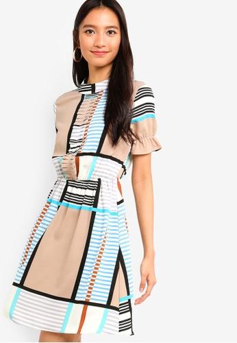 ZALORA white and multi Pleated Front Mini Dress 115B1AA054CBFAGS_1
