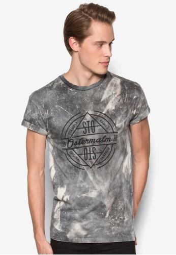 水洗印花捲袖短袖TEE, 服飾, Tesprit sg恤