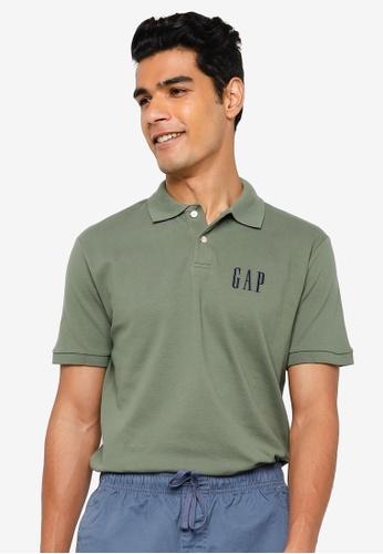 GAP green Logo Pique Polo Shirt 74C2AAA71C35F7GS_1