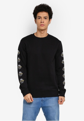 Cotton On black Crew Fleece Sweatshirt 8A965AA3358B43GS_1