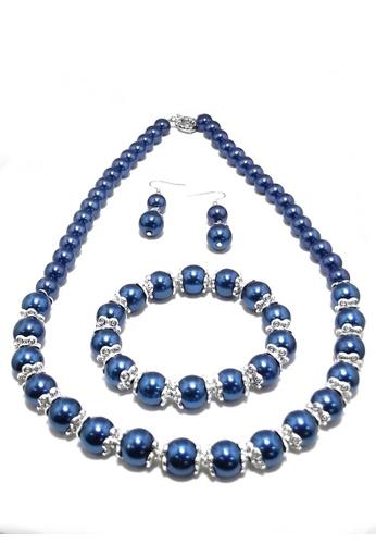 KLF blue Basra Fashion Pearl Set By KLF KL134AC32ULVMY_1