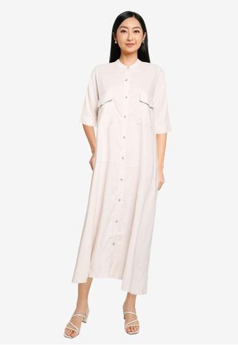 JEANASIS white Pocket T-Shirt Dress FD823AA7291933GS_1