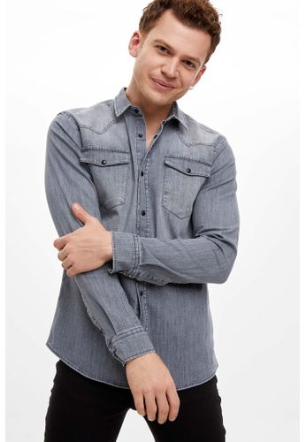 DeFacto grey Long Sleeve Shirt 121D0AA4C8B908GS_1