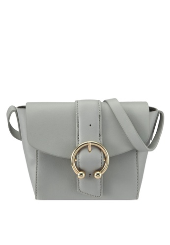 TOPSHOP grey Raven Crossbody Bag TO412AC0SIXAMY_1