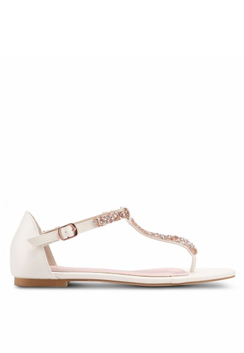 Velvet white Embellished T- bar Strap Sandals 85E84SHB203739GS_1