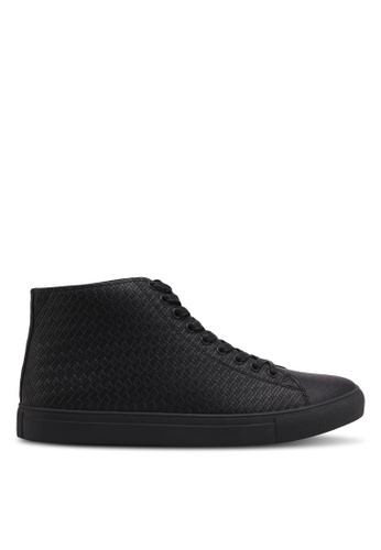 ZALORA black Textured High Top Sneakers 9200FSH754E073GS_1