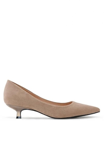 Twenty Eight Shoes 米褐色 3.5CM尖頭絨面高踭鞋295-1 38433SHB4A1472GS_1