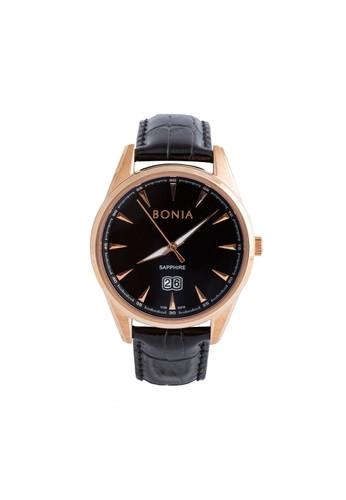 BONIA black Bonia B10318-1532 - Jam Tangan Pria - Black Rosegold CF665ACB53C1E0GS_1