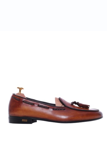 Zeve Shoes brown Zeve Shoes Belgian Loafer - Cognac Tan With Tassel (Hand Painted Patina) 2CB4FSH295E69EGS_1